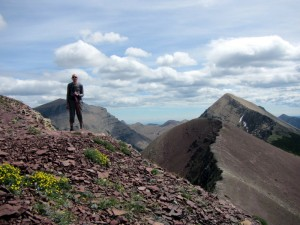 Andy on Lineham Ridge, with Mount Lineham in the background