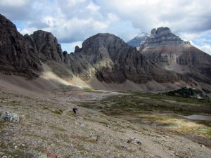 Climbing to the Pass with Wastach Mountain, Eiffel Peak and Mount Temple in the middel